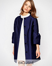 Helene Berman Fluted Sleeve Jacket In Blue