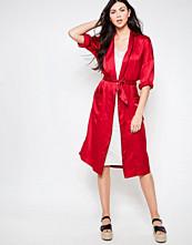 Ganni Trinity Seersucker Kimono Style Wrap Dress