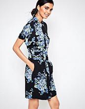 Ganni Blue Flower Print Shirt Dress