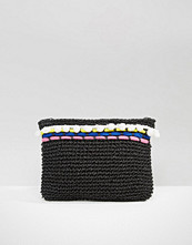 South Beach Straw Clutch Bag With Poms & Piping