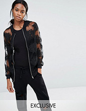 Missguided Exclusive Embroidered Mesh Bomber Jacket