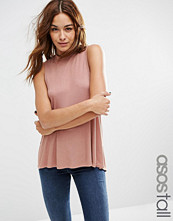 Asos Tall Sleeveless Top With High Neck And Split Back