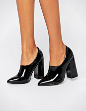 Daisy Street Black Patent High Vamp Point Heeled Shoes