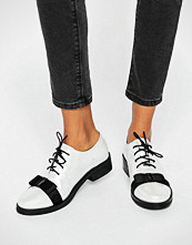 Daisy Street Bow Pearl White Lace Up Flat Shoes