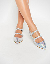 Daisy Street Silver Multi Strap Point Flat Shoes
