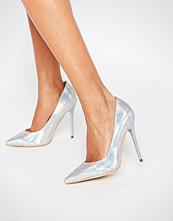 Public Desire Josie Silver Irridescent Court Shoes