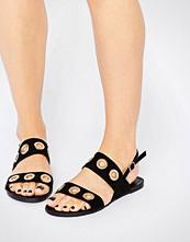 Glamorous Eyelet Strap Flat Sandals