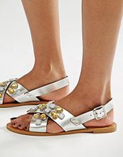 Glamorous Embellished Cross Strap Flat Sandals