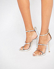 Public Desire Aisha Strappy Silver Heeled Sandals