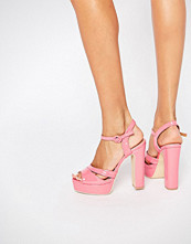 Public Desire Penny Pink Platform Heeled Sandals