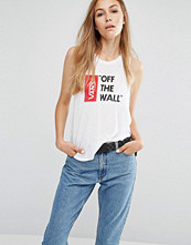 Vans White Muscle Tank Top With Off The Wall Logo