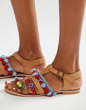 Glamorous Embroidered Pom Pom Sandals