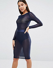 NaaNaa Satin Stripe Sheer Bodysuit