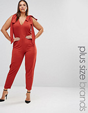 Pink Clove Sleeveless Plunge Jumpsuit With Bow Detail