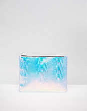 Skinnydip Exclusive Holographic Faux Snake A4 Zip Top Pouch