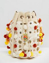 America & Beyond Multi-Color Pompom Cross Body Bag