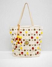 America & Beyond Multi-Color Pompom Bag