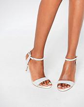 Carvela Kollude White Kitten Heeled Sandals