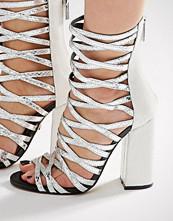 Carvela Goddess Silver Caged Gladiator Heeled Sandals