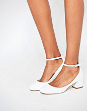 Miss KG Amber White Mid Heeled Ankle Strap Shoes