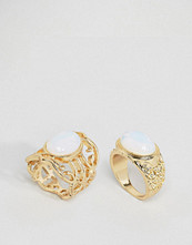 Missguided Moon Stone Ring Two Pack