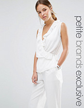Alter Petite Wrap Front Sleeveless Blouse With Ruffle Detail
