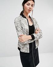 Helene Berman Bomber Jacket In Gold & White Camo Jacquard