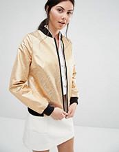 Helene Berman Bomber Jacket With Gold Metallic Zebra Stripes