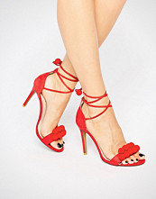 Public Desire Salma Red Bobble Heeled Sandals