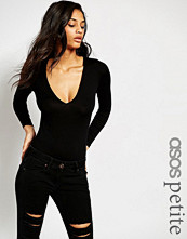 ASOS Petite Body With V Neck Long Sleeve And Thong