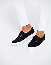Fred Perry Aubyn Black Flocked Polka Dot Twill Plimsoll Trainers