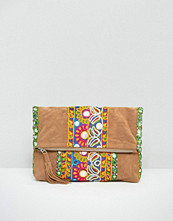Boohoo Embroidered Clutch Bag