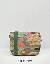 Reclaimed Vintage Camo Cross Body Bag with Dragon Patches