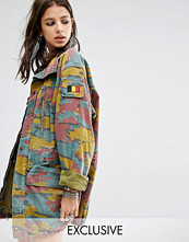 Milk It Vintage Oversized Military Jacket In Colour Camo
