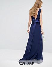TFNC WEDDING Sateen Bow Back Maxi Dress