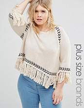 Alice & You Jumper With Contrast Knit Detail And Tassel Hem