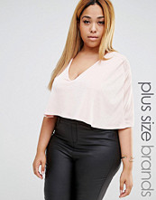 Club L Plus Plunge Front Cape Overlay Body Top