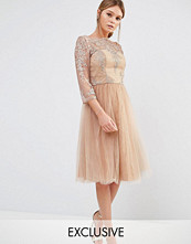 Chi Chi London Bardot Neck Midi Dress with Premium Lace and Tulle Skirt