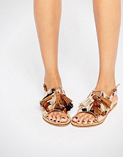 Glamorous Gold Multi Tassle Flat Sandals