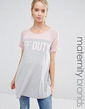 Bluebelle Maternity Lounge Colour Block 'Off Duty' Slogan Jersey Tee