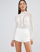 Missguided Lace Embroidered Playsuit
