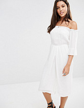Missguided Bardot Cheesecloth Culotte Jumpsuit