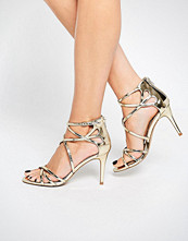 Head Over Heels By Dune Exclusive Minita Gold Strappy Heeled Sandals