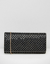 ALDO Foldover Beaded Clutch Bag in Black