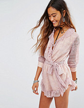 Young Bohemians Playsuit With Wrap Front And Lace Sleeves