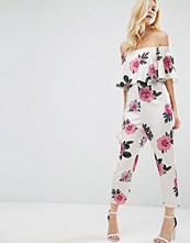 ASOS Petite Ruffle Off Shoulder Peg Leg Jumpsuit in Oversized Floral Print