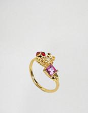 Bill Skinner Floral Crytsal Ladybird Open Ring