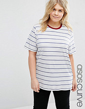 ASOS Curve Boyfriend T-Shirt in Stripe with Contrast Neck