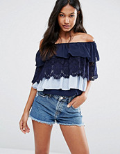 Boohoo Off the Shoulder Tiered Lace and Ruffle Top