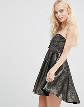 Free People Fit Flare Shattered Shine Strapless Dress